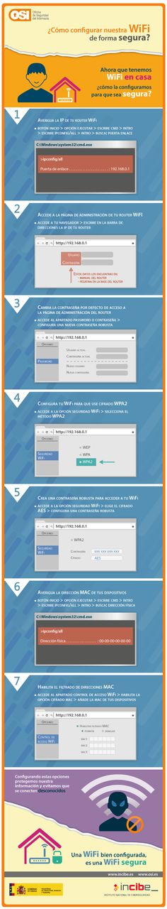 ¿Tienes un router wifi? Pues esta infografía te interesa: https://www.osi.es/es/actualidad/blog/2015/03/09/aprende-asegurar-tu-wifi-en-7-pasos?origen=rs_fb #WiFi #Seguridad