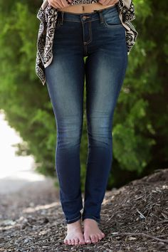 Basic Jeans, Favorite Jeans-CELLO Signature Skinny Jeans-Faded Indigo by Jane Divine Boutique www.janedivine.com
