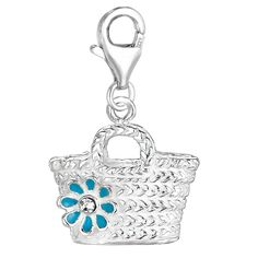 Sterling Silver Enamel & Crystal clip-on straw bag charm