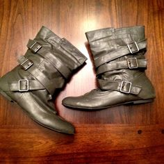 """Selling these """"Grey Belted and Buckled Mid-Calf Boots!"""" in my Poshmark closet! My username is: kcgentzler. #shopmycloset #poshmark #fashion #shopping #style #forsale #wet seal #Shoes #boots #motoboots #flatboots #greyboots"""