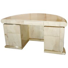 1stdibs - Parchment Covered Presidental Desk in the Style of Karl Springer explore items from 1,700  global dealers at 1stdibs.com