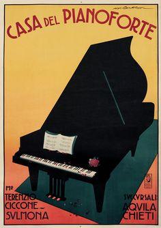 Roveroni, Walter vintage poster: Casa del Pianoforte