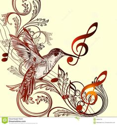 Beautiful music background with hummingbird and treble clef. Vector pattern with bird and music notes. Music Tattoo Designs, Temporary Tattoo Designs, Music Tattoos, Tattoo Famille, Tattoo Noten, Music Bird, Music Notes Art, Note Tattoo, Music Drawings
