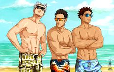 The eternal fight between the sexy duo (Kuroo & Oikawa) + Asahi and the bara trio (Bokuto + Daichi + Iwa-chan) about who of them is hotter ;P, part 2, Umm, I don't know... who is?,  http://jeannetteleven.tumblr.com/post/122798438005/the-eternal-fight-between-the-sexy-duo-kuroo