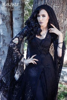 Wassa French Gypsy Lace Dress in Black