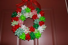 Simply Made...with Love: Gift Bow Wreath Tutorial - would be good for ugly sweater party decorations