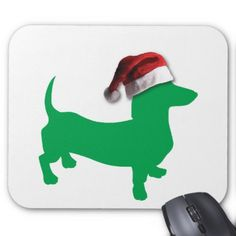 #Light Green Dachshund with a Santa Claus Hat Mouse Pad - #Xmas #ChristmasEve Christmas Eve #Christmas #merry #xmas #family #holy #kids #gifts #holidays #Santa