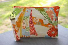 Wristlet (L) / Orange cream Purse / Zippered pouch /  iPad mini case /  vintage kimono