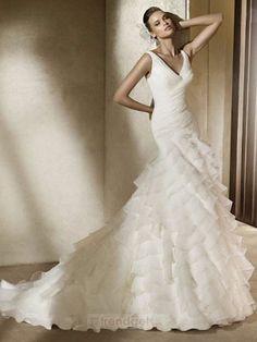 Attractive Trumpet / Mermaid V-neck Floor-length Organza White Wedding Dresses - $185.99 - Trendget.com