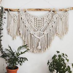 This is a mini version (mini at 1.2m wide) of my mega macrame I made last year, but this time the client wanted the stick exposed. So…