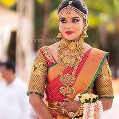 Indian Wedding Jewelry, Indian Bridal Wear, Indian Wedding Outfits, Bridal Outfits, Indian Jewelry, Bridal Jewelry, Wedding Dresses, Indian Actress Gallery, Saree Blouse Designs