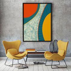 Painters Tape Art, Coral Wall Art, Wall Art Prints, Fine Art Prints, House Furniture Design, Modern Bedroom Decor, Yellow Art, Expressive Art, Easy Paintings
