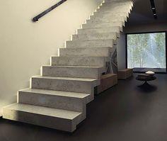Straight staircase / concrete steps / with risers KONKRET KOZAC