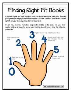 Use the five finger test to find the right fit book.