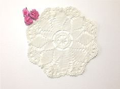 Beautiful Vintage White Crochet Doily Snowflake by 2Fun4Words, $5.99