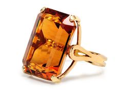 35.6 ct emerald cut citrine ring set in 18kt yellow gold, circa 1970