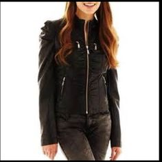 """Faux leather jacket !!! LAST REDUCTION 20"""" from collar to end of zipper. Sleeves 26"""" long from shoulder to end and chest is a little under 16"""". Size M. Cute detail on waist and shoulders. Hot pink on the inside :) never worn! Jou Jou Jackets & Coats"""