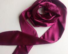 Check out Magenta Sash for Flower Girl, Purple Long Skinny Sarf, Holiday Gift for Teen, Plum Wedding Sash belt, 100X3 Versatile Bow scarf on blingscarves