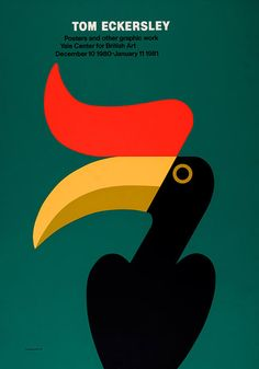 Tom Eckersley, Yale Center for British Art exhibition poster - TEC - VADS: the online resource for visual arts Modern Graphic Design, Graphic Design Illustration, Graphic Art, Illustration Styles, Art Exhibition Posters, Bird Poster, Play Poster, Salford, Animal Posters