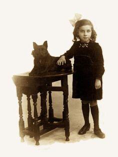 Vintage photo  Little girl & Schipperke  Love this!! Schipperkes are a girls best friend!