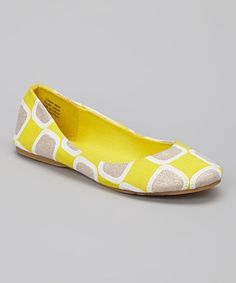 Another great find on #zulily! Yellow & Silver Glitter Geometric Flat #zulilyfinds @ikagin