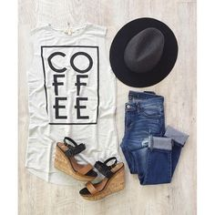 This Coffee Tank is giving us all of the ! Plus, it's crazy soft (like CRAZY). Cute Sporty Outfits, Co E, Flatlay Styling, Fashion Capsule, How To Plan, Stylish, Tees, T Shirt, Clothes