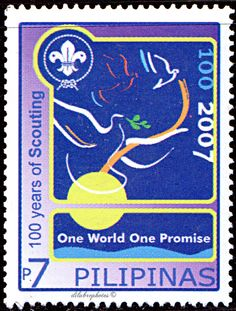 Philippines.  SCOUTING CENTENARY. SCOUTING & SCOUTING CENTENARY EMBLEMS.  Scott 3097 A994, Issued 2007 Aug 1, Php 7. /ldb.
