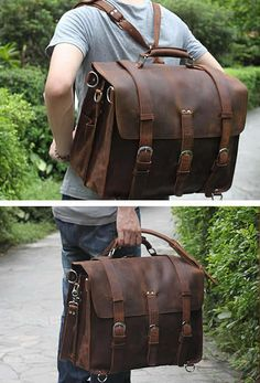 Solid Selvaggio American Crazy Horse Handmade Leather Briefcase with Metal…
