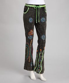 Look what I found on #zulily! Black Embroidered Pants by Rising International #zulilyfinds