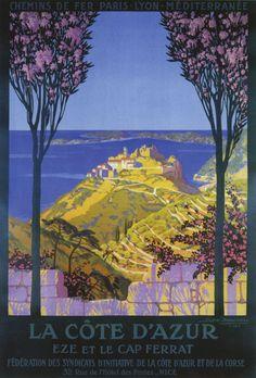 affiche de tourisme : France, cote d'Azur, travel poster