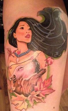 Pocahontas Disney tattoo photo - I remember singing the Pocahontas songs when I was a child. My mom bought me a matching Pocahontas pink shirt and shorts that I loved so much. Future Tattoos, Love Tattoos, Beautiful Tattoos, Tattoos For Guys, Tatoos, Pretty Tattoos, Girly Tattoos, Awesome Tattoos, Beautiful Body