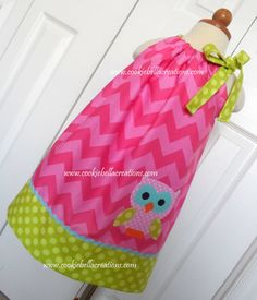 Girlie Owl Pink Chevron and Green Polka dot and chevron  pillowcase dress...perfect for a birthday party!