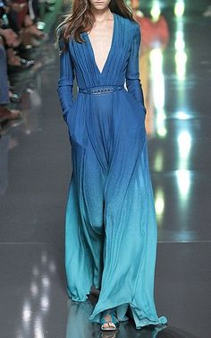 Blue Ombré Double Silk Georgette Dress by Elie Saab Now Available on Moda Operandi