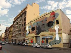 Fish'n'kids, mural by Agostino Iacurci in Rome (via del porto fluviale)