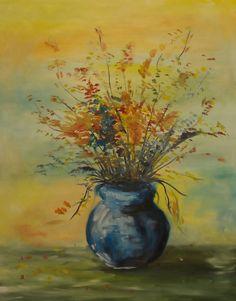 Kwiaty w wazonie, pastelowe kolory. Olej na płótnie.