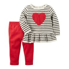 Supersweet style is effortless with this girls' Carter's heart peplum sweater and leggings set from Carter's. Cute Baby Girl Outfits, Baby Outfits Newborn, Cute Baby Clothes, Little Girl Dresses, Kids Outfits, Baby Girl Valentine Outfit, Fall Clothes, Little Girl Fashion, Kids Fashion