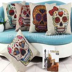 How fun is the fabric on these pillows? We think a console table with our Senor and Senorita candle holder pair would be the perfect finishing touch for this sugar skull - inspired design. Find this cute couple - exclusive to Party Hosts - at PartyLite.com!