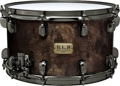 """Tama S.L.P Limited Edition G-Bubinga 8x14"""" Snare Drum in Charcoal Quilted Bubinga Finish"""