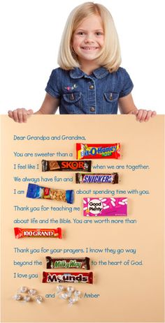 You and your kids can gather candy, make this sweet message and deliver it to a special grandparent on Grandparents' Day (Sunday, Sept. 9)!