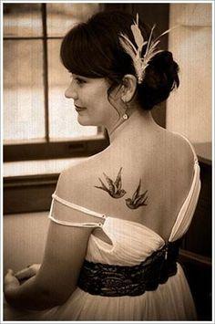 Shoulder Bird Tattoo for women