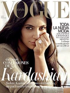 Pregnant Kim Kardashian Goes Without Makeup for Vogue Spain: Photo - Us Weekly