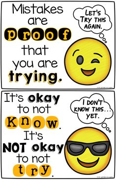 growth mindset posters to get your students thinking - Emoji Style! From Light Bulbs and Laughter.FREE growth mindset posters to get your students thinking - Emoji Style! From Light Bulbs and Laughter. Classroom Posters, Classroom Themes, Classroom Organization, Classroom Management, Preschool Classroom, Social Emotional Learning, Social Skills, Growth Mindset Posters, Growth Mindset Classroom