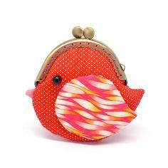 Cute fiery red bird clutch purse por misala en Etsy, $27.90
