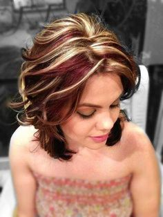 Hair ideas for next hair color or cut chunky red brown and blonde highlights and lowlights all over. Description from pinterest.com. I searched for this on bing.com/images Digging the colors They seem perfect for Fall
