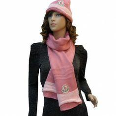 France Moncler Fashion Pink White Scarf & Cap Online