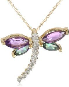 """Yellow Gold Gemstone Diamond Dragonfly Pendant Necklace, 18"""" ~  4.5 out of 5 stars   (31 customer reviews) List Price:$407.16 ~ Price:$161.00 & FREE Shipping and Free Returns.  ~ You Save: $ 246.16 (60%)"""