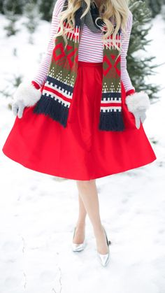 Red A-line Midi Skirt by Makenna Blue... Obviously needs the Tom Baker scarf
