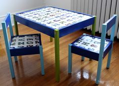 Colourful Ikea Latt children's table. I would use chalkboard paint on the table top