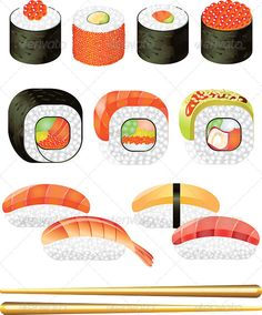 Colorful Sushi Rolls Vector Set