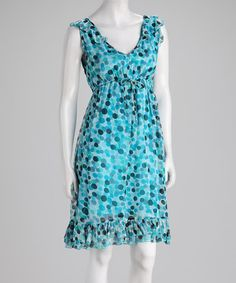 Take a look at this Blue Dot V-Neck Dress by Papillon Imports on #zulily today!